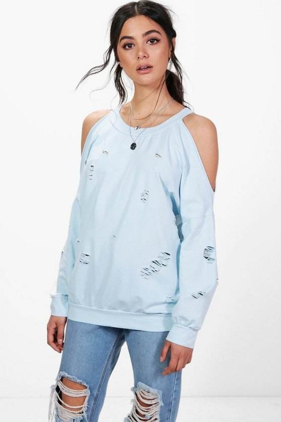 Sally Open Shoulder Distressed Sweatshirt