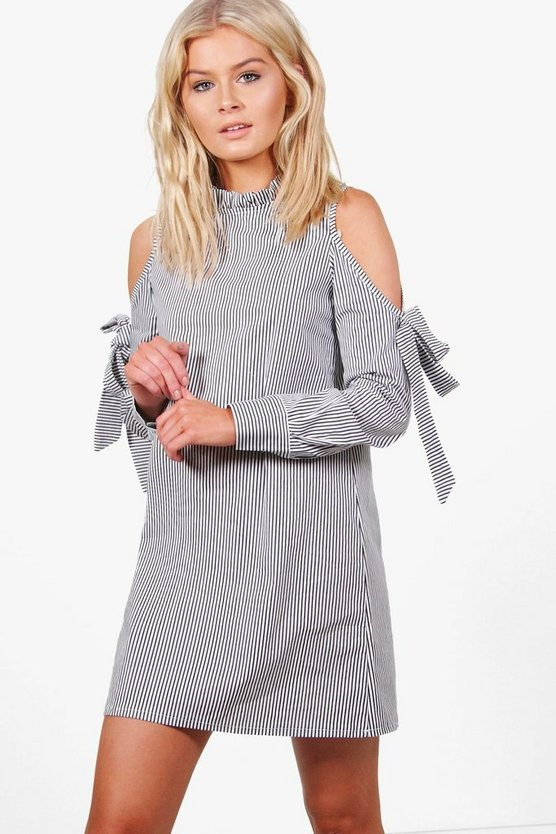 Sarah Cold Shoulder Pinstripe Shift Dress