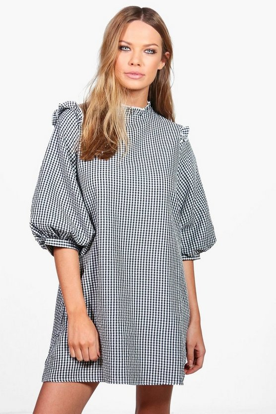 Lucie Gingham Puff Sleeve Woven Shift Dress
