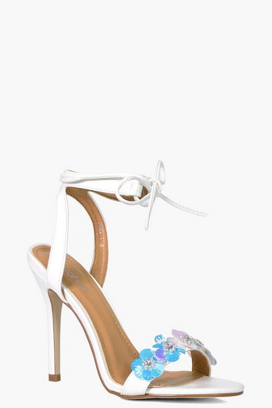 Louise Flower Embellished Wrap Up Heel