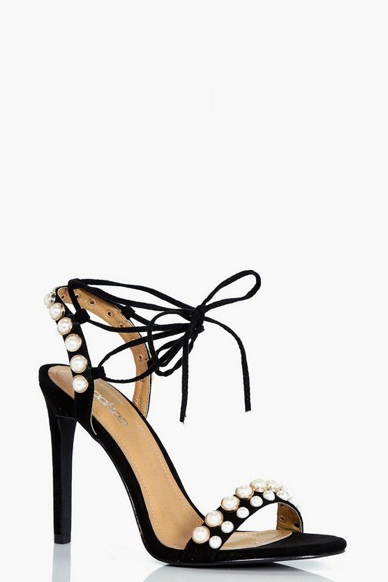 Kirsty Pearl Detail Wrap Up Stilettos