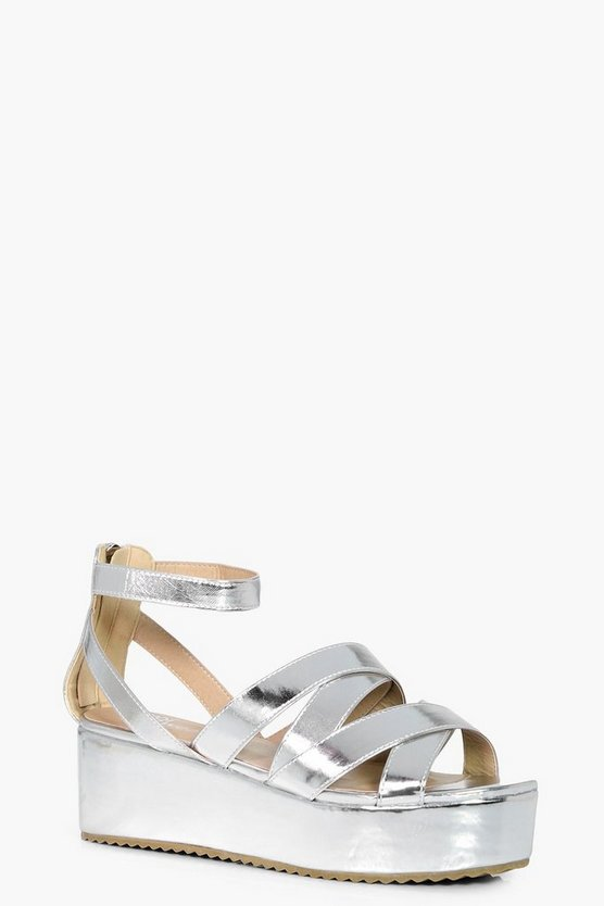 Alice Cross Strap Flatform Wedges