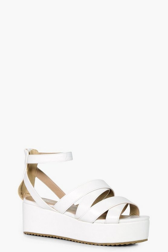 Elizabeth Cross Strap Flat Form Wedge