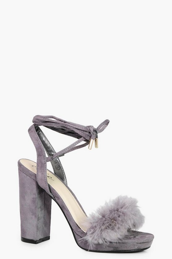 Amy Faux Feather Trim Ankle Wrap Platform Heel