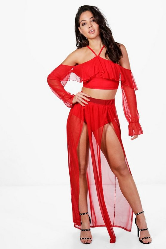 Reeva Mesh Frill Crop & Maxi Skirt Co-ord