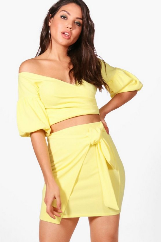 Cindy Ruffle Sleeve Crop & Skirt Co-ord