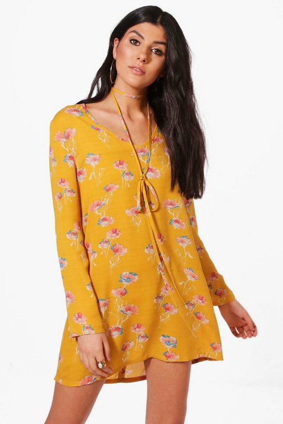 Molly Floral Tie Neck Shift Dress