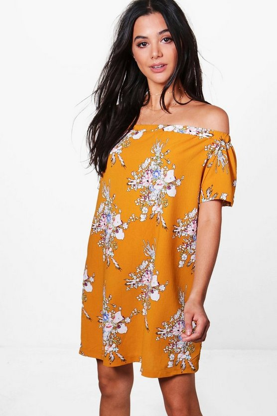Millie Off The Shoulder Floral Shift Dress