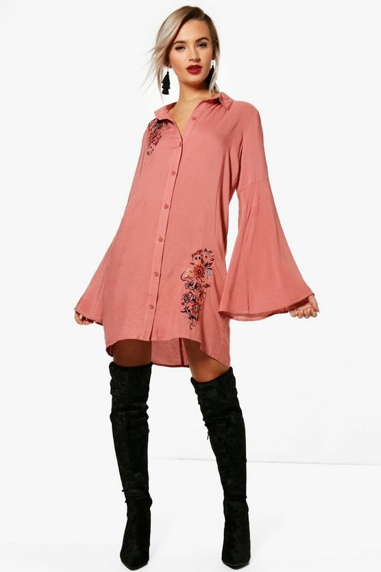 Lilly Embroidered Flute Sleeve Shirt Dress