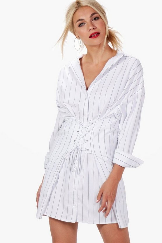Anna Corset Lace Up Waist Stripe Shirt Dress