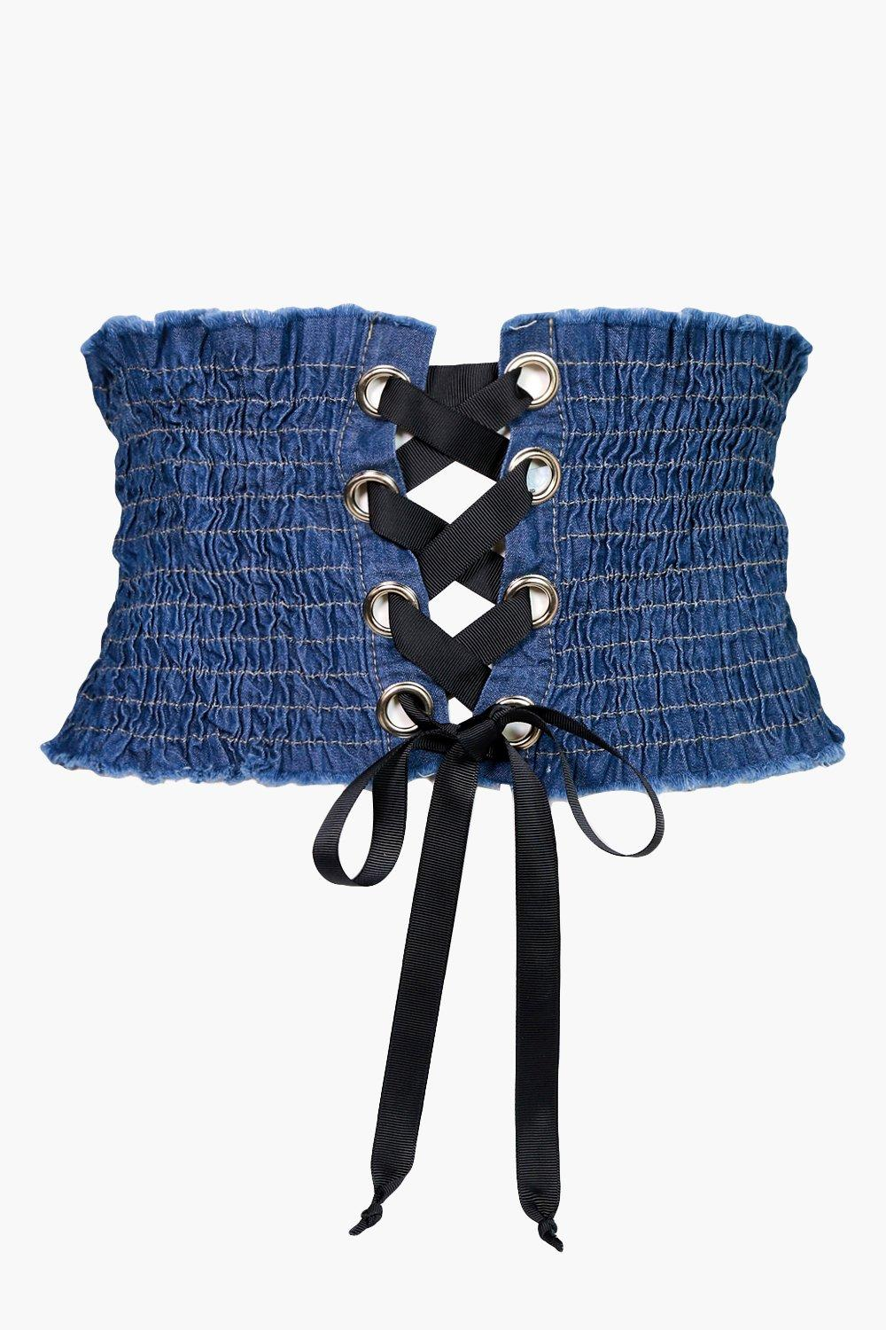 Pleated Corset Belt - blue - Ruby Pleated Corset B