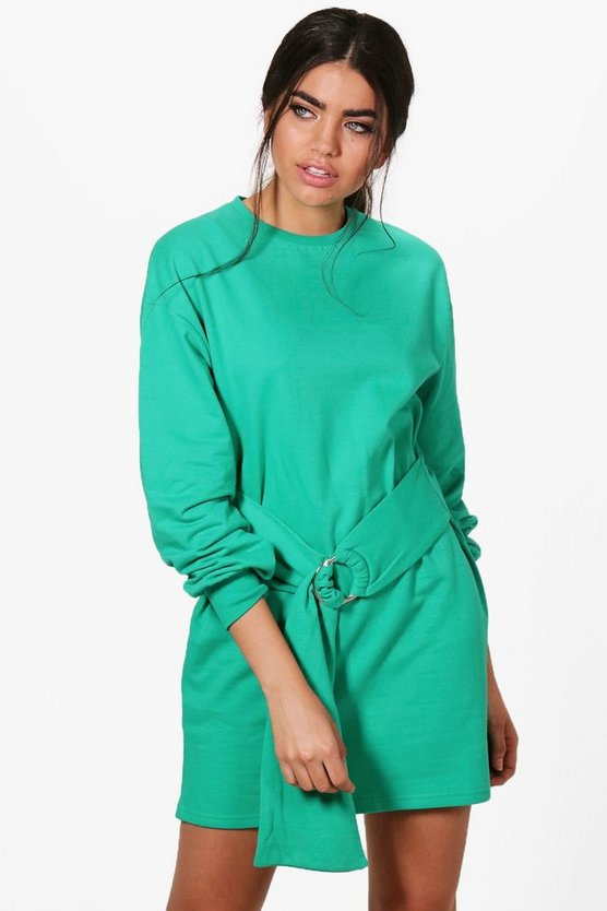 Lauren O Ring Belted Sweat Dress