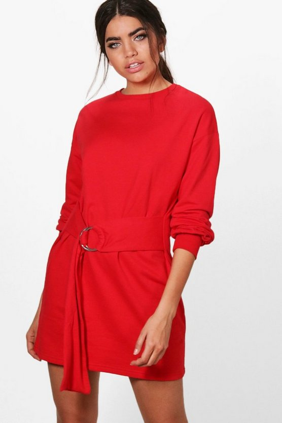 O Ring Belted Sweat Dress