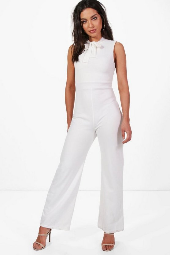 Alice Tie Neck Tailored Wide Leg Jumpsuit