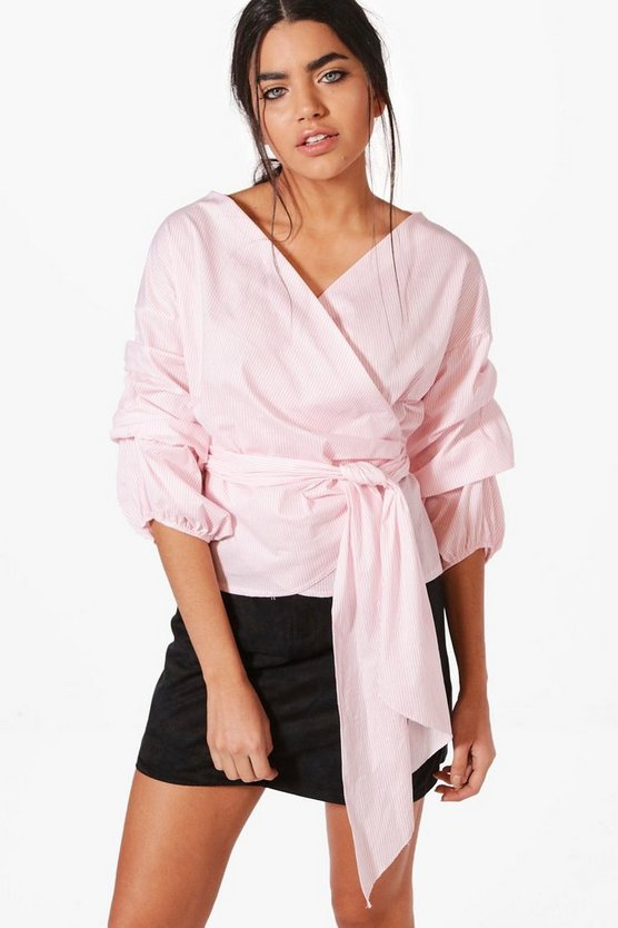 Aylin Ruffle Sleeve Stripe Wrap Shirt