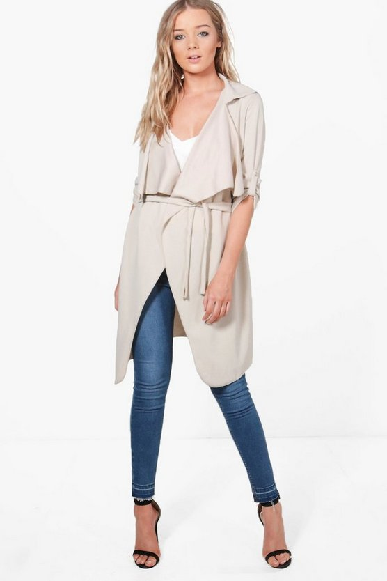 Alex Button Detail Waterfall Duster Jacket