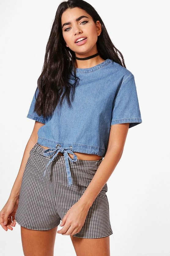 Emma Tie Waist Keyhole Back Denim Top