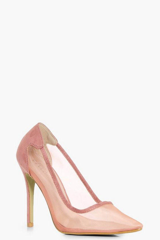 Martha Pointed Toe Mesh Court Heels