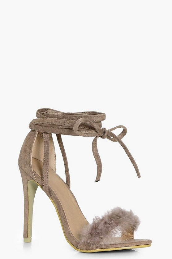 Kayla Faux Feather Wrap Strap Heels