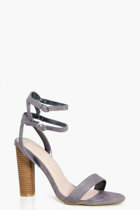 Ella Double Buckle Ankle Band Cylinder Heel