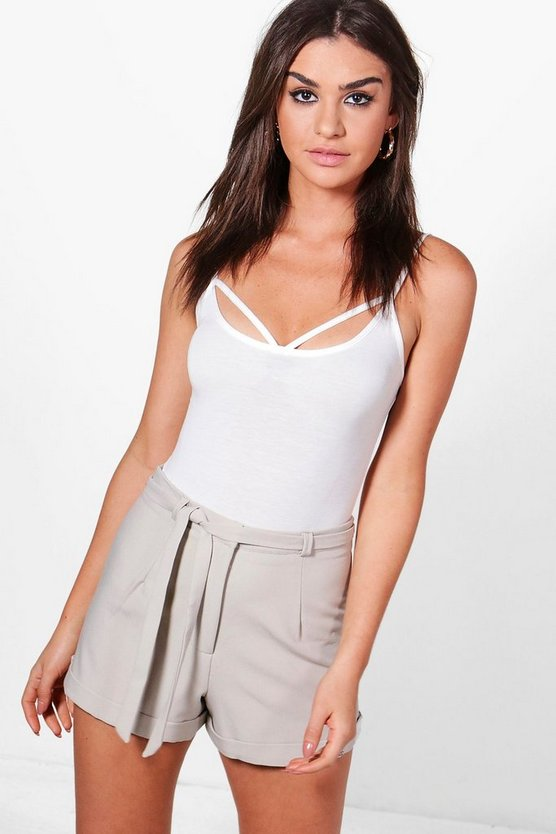 Jenny Tie Waist Turn Back Hem Tailored Shorts