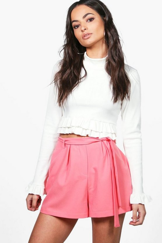Ria Tie Belt Tailored Shorts