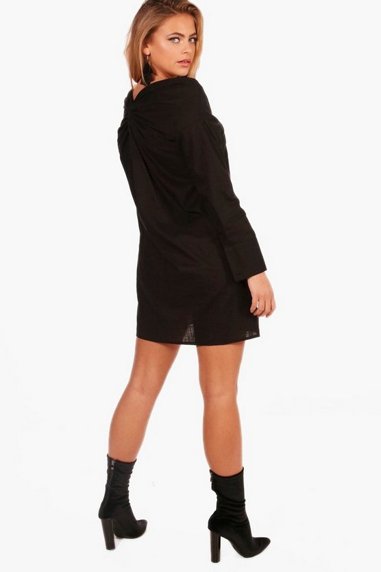Natalie Off The Shoulder Knot Back Shirt Dress