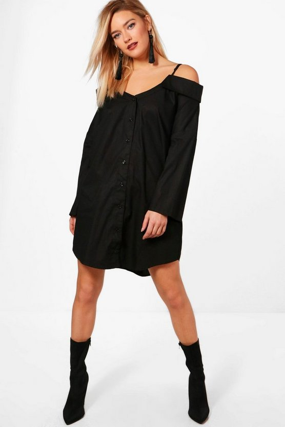 Lilly Off The Shoulder Strappy Split Sleeve Shirt Dress