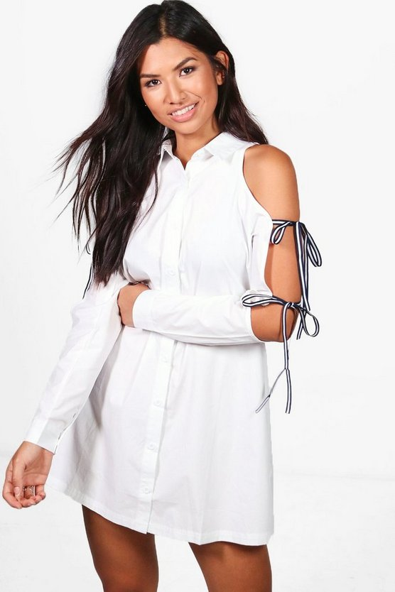 Isabel Cold Shoulder Tie Sleeve Shirt Dress