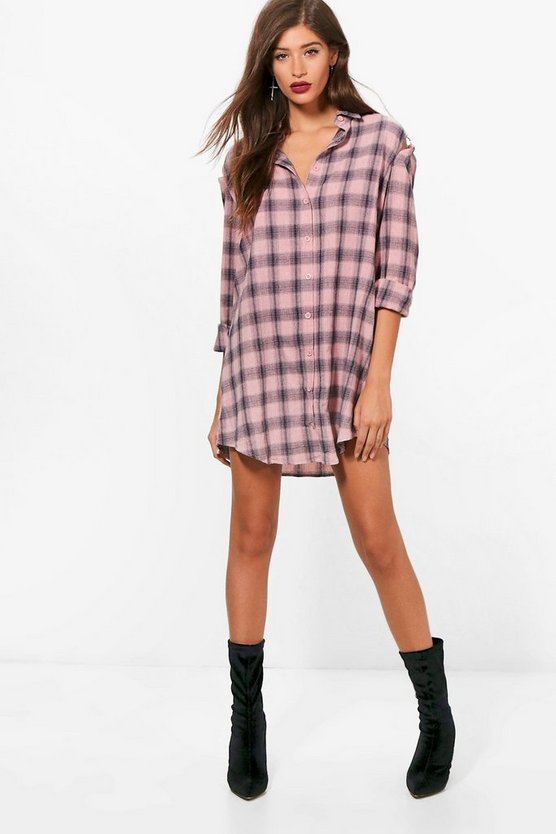 Maria Cold Shoulder O Ring Check Shirt Dress