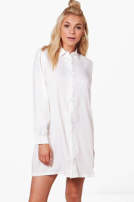 Rosie volume sleeve button detail Shirt Dress