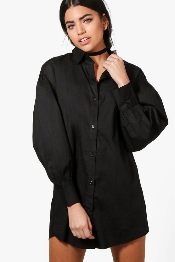 Emma Volumised Sleeve Shirt Dress