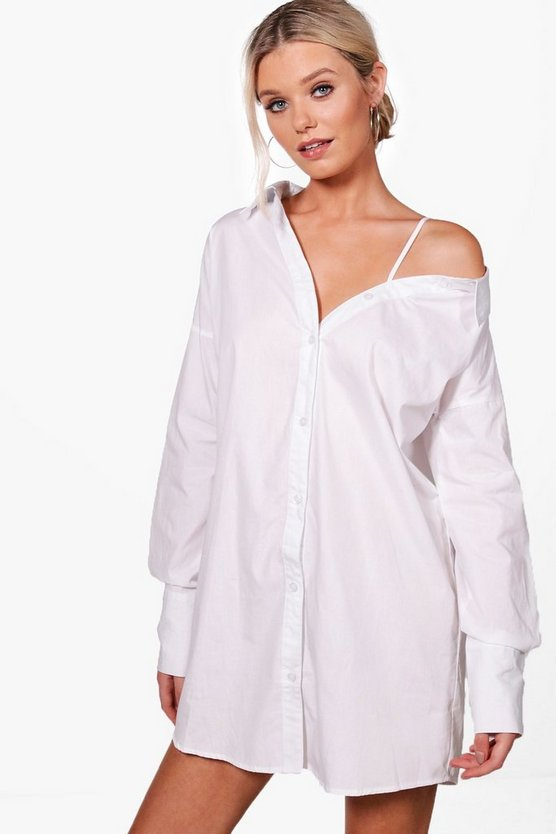 Jenna Asymmetric Cold Shoulder Shirt Dress