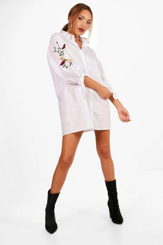 Tanya Embroidered Tie Sleeve Shirt Dress