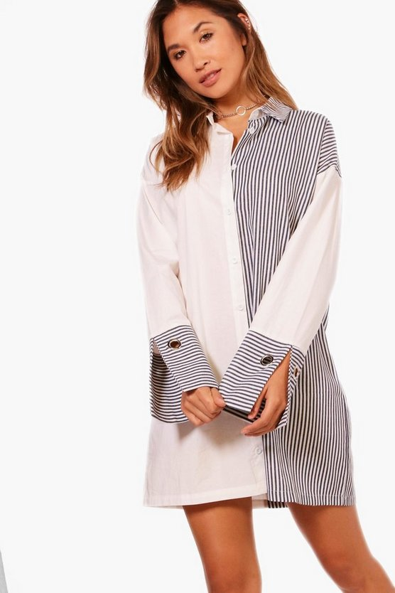 Saskia Stripe Mix Eyelet Cuff Shirt Dress