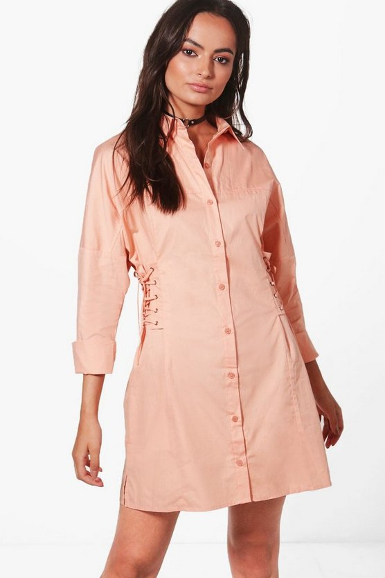 Ellie Lace Up Shirt Dress