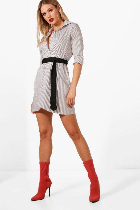 Obi Belt Wrap Shirt Dress by Boohoo