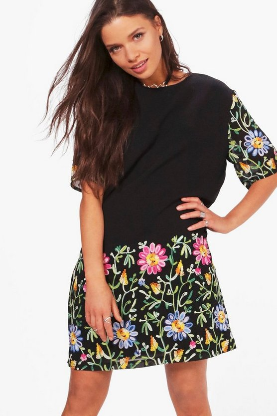 Abbie Embroidered Mesh Shift Dress