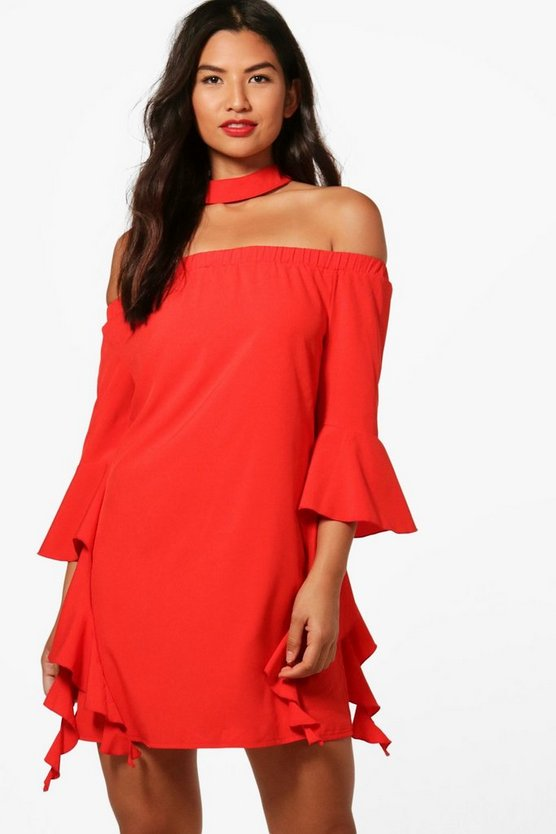 Shay Off The Shoulder Choker Shift Dress