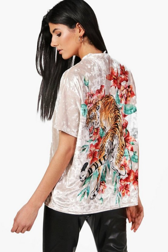 Mia Oversized Tiger Back Velvet T-Shirt