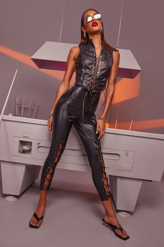 Premium Lace Up Front Leather Look Trousers