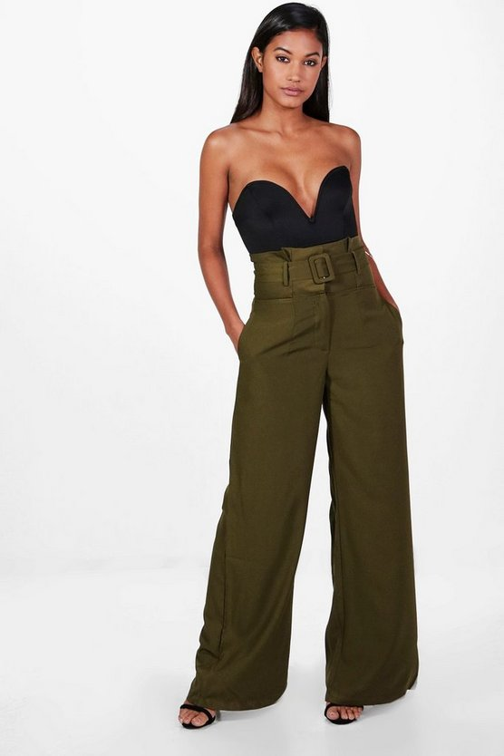 Belted High Waist Tailored Wide Leg Trousers