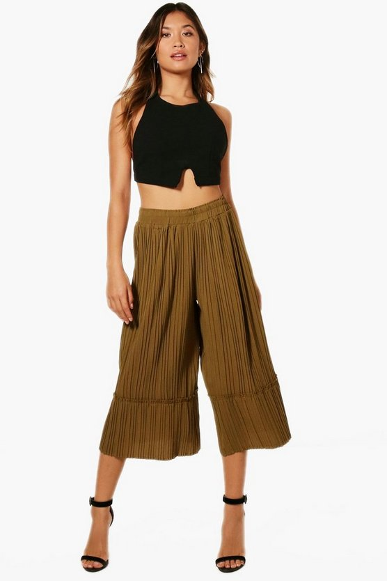 Pleated Ruffle Hem Wide Leg Culottes