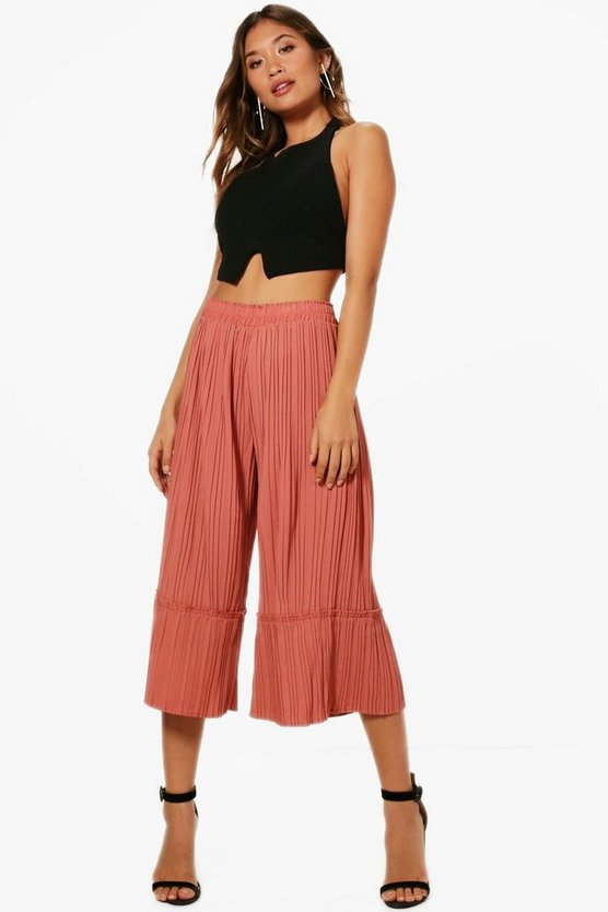 Milena Pleated Ruffle Hem Wide Leg Culottes