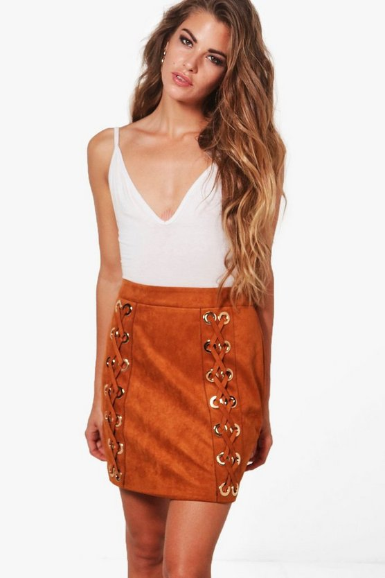 Alaska Suedette Lace Up Mini Skirt