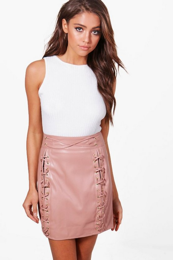 Aurelia Leather Look High Waist Lace Up Mini Skirt