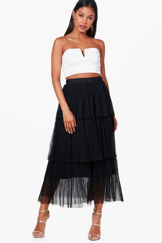 Poppy Pleated Tulle Layered Midaxi Skirt