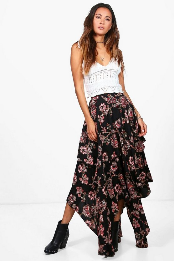 Aura Floral Print High Low Hem Maxi Skirt