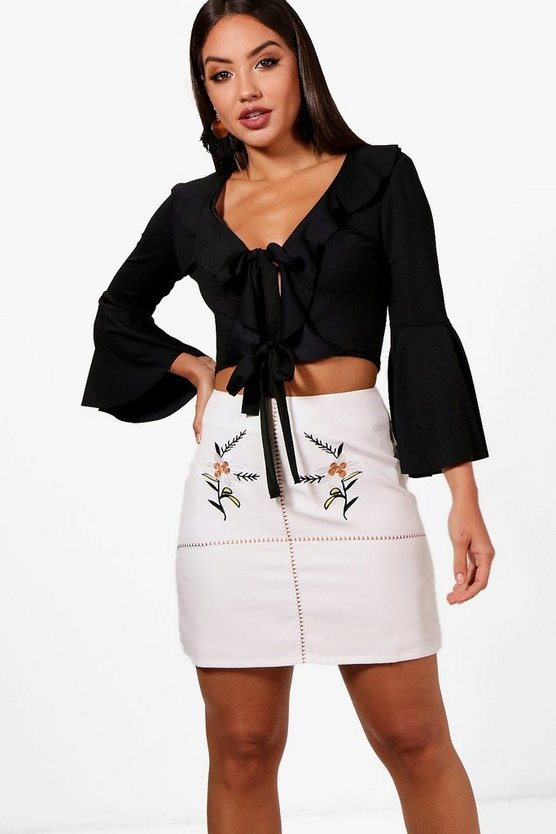 Harlow Embroidered Front A Line Skirt