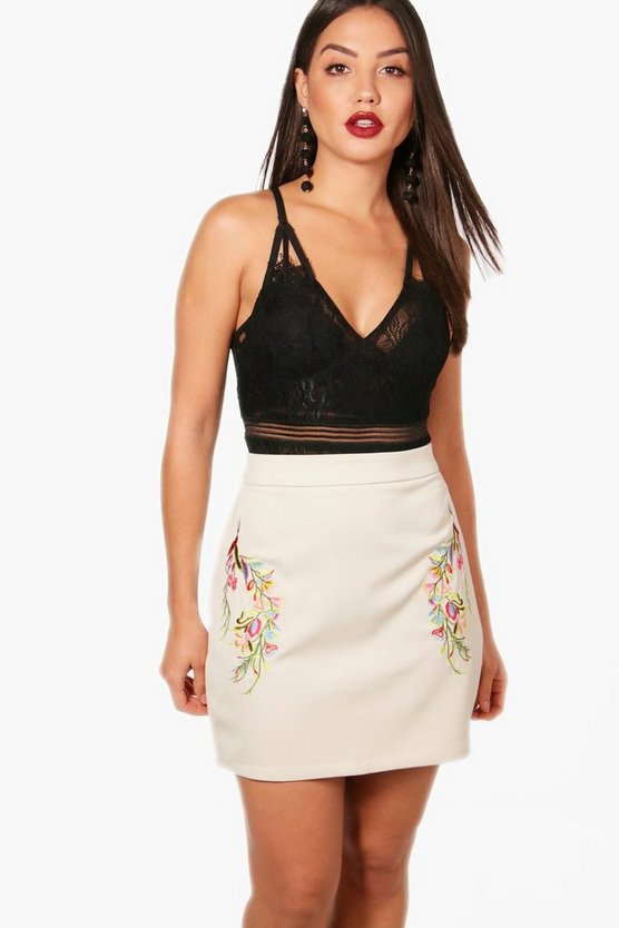 Peaches Embroidered Side A Line Mini Skirt